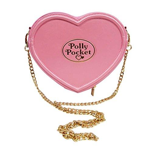 Official Licensed Ladies Polly Pocket Pink Heart Shaped Cross Body Bag Handbag