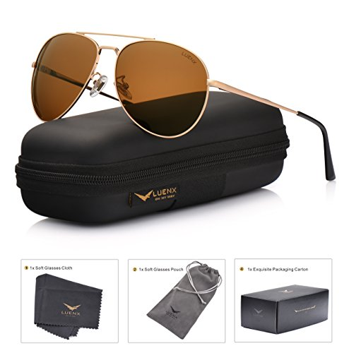 LUENX Sunglasses Aviator Polarized for Men & Women with Case - 400 UV Dark Green Lens Metal Gloss Gold Frame Mirrored - Glasses Aviator Cheap