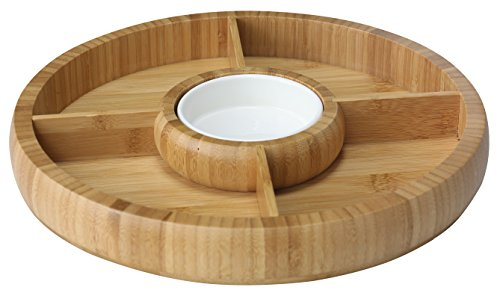 - Home Basics Bamboo Chip and Dip Set with Removable Ceramic Bowl
