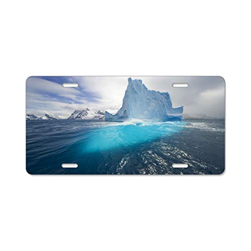 Hizhongmen American Automobile Plate Frame Covers South Georgia Island Icebergs Vanity Metal Novelty License Plate Tag Sign