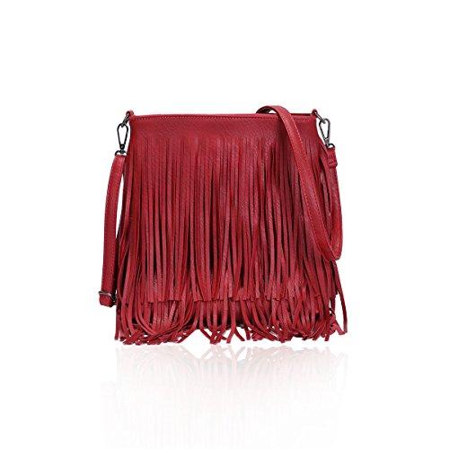 Red Tassel Bag Chic Faux Fringe Leather Women's Ladies Shoulder G003 Handbag Body Cross W87XBWxq