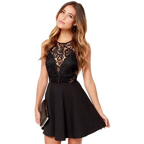 iCystore Women Summer Sexy Lace Casual Sleeveless Backless Patchwork Prom Cocktail Lace Short Mini Ball Gown Dress (S, Black)