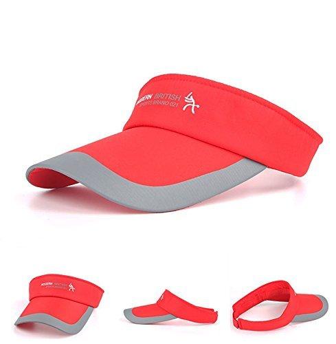 - HYSENM Unisex Adjustable Sun Sports Visor Cap Golf Cap Tennis Visor Hat Lightweight Sunscreen UV Protection Sweat Absorption for Cycling Running Golf Tennis Outdoors, Red