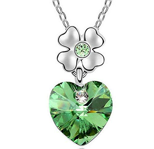 Fashion Womens Heart Green Crystal Rhinestone Silver Chain Pendant Necklace ~пјЃ -