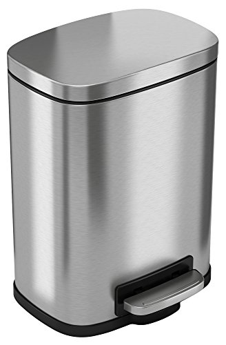 Four Gallon Plastic Step - iTouchless SoftStep 1.32 Gallon Stainless Steel Step, 5 Liter Pedal Bathroom Bin, Removable Inner Bucket, Soft and Silent Open and Close Trash Can