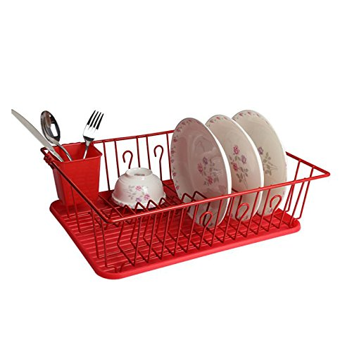 Mega Chef Dish Rack with 14 Plate Positioners and A Detachable Utensil Holder, Red (Rack Dish Red)