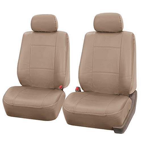 FH-PU001102 PU Leather Car Front Bucket Seat Covers Solid Tan - Suv Bucket Seats