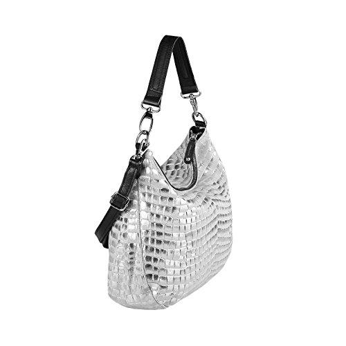 OBC Only-Beautiful-Couture - Bolso al hombro para mujer negro Schwarz 43x35x15 cm ca.: 43x35x15 cm (BxHxT) Silber 43x35x15 cm