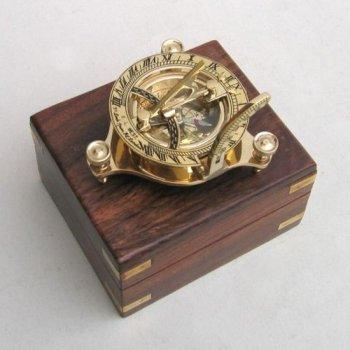 Nauticalコレクションソリッド真鍮Sunダイヤルコンパス木製ボックス付き B018S40S42