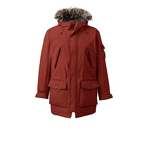 Lands' End Men's Expedition Parka, M, Bright Rust Faux Fur