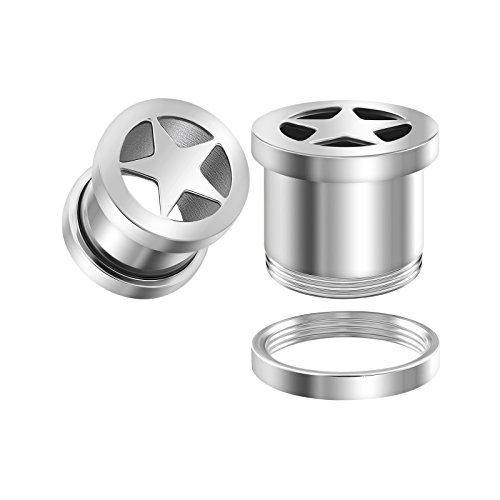 BIG GAUGES Pair 316L Surgical Steel 00g Gauge 10mm Screw-Fit Flesh Tunnels Star Piercing Jewelry Stretcher Ear Ring Lobe Plugs BG1034