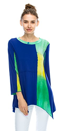 Pleated Cotton & Silk Tunic (Angel Cola Womens 3/4 Sleeve Tie Dye Asymmetrical Tunic Top Royal Blue Large)