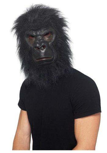 Halloween Gorilla Mask (Realistic Furry Black Gorilla Ape Animal Costume Mask, Adult, One Size)