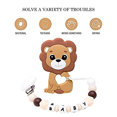 Cute Silicone Baby Teething Toys Brown Lion Teether Pendant Pacifier Clip BPA Free Chewable Beads Soothing Pacifier Food Grade Materials Dummy Clip Neutral Gift: Toys & Games