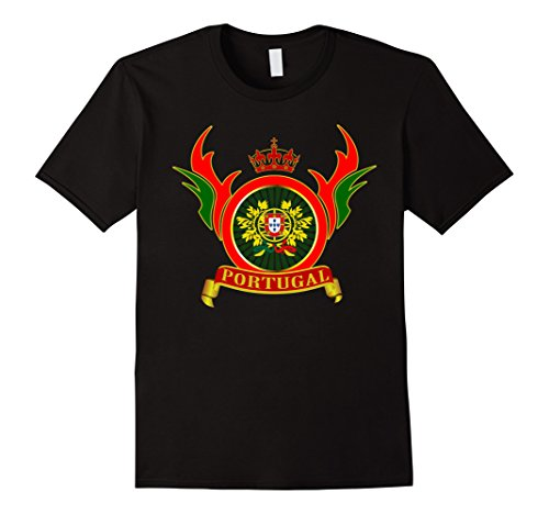 Mens Portugal arms coat flag T-Shirt 2XL Black (Portugal Coat)