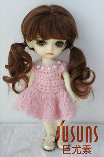 Light Brown Mohair (Wigs Only JD426 5-6'' 13-15CM Twin Curly Pony Mohair BJD Wigs 1/8 Lati Yellow Doll Accessories (Light Brown))