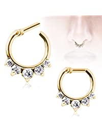 1 - Gold Ion Plated Gemmed Princess Septum Clicker 316L Surgical Steel Rings F60