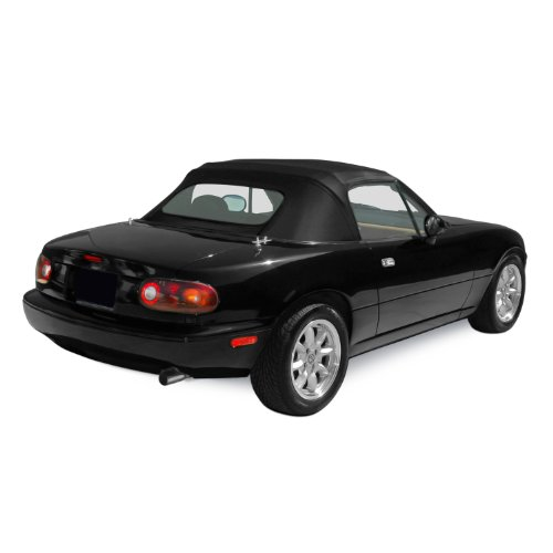 Mazda Miata MX5, 1990-2005 Factory Style Convertible Top, Zippered Heated Glass Window, Stayfast Cloth, (Plastic Window Stayfast Cloth)