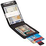 Travelambo Mens RFID Blocking Front Pocket Minimalist Slim Wallet With Pull Tab Money Clip (carbon fiber leather black w/metal clip)