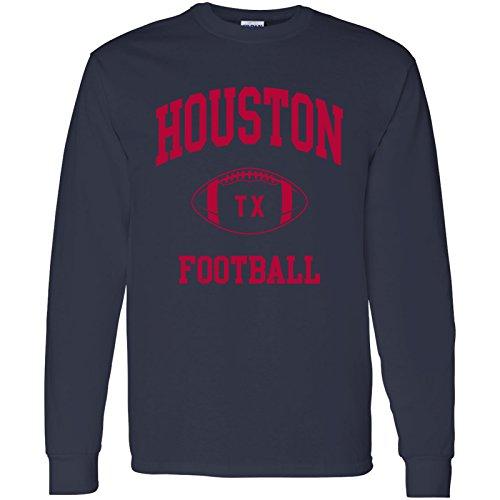 Houston Classic Football Arch American Football Team Long Sleeve T Shirt - Medium - Navy