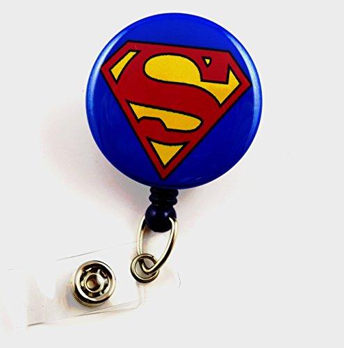 Superhero Superman Mylar - Nurse Badge Reel - Retractable ID Badge Holder - Nurse Badge - Badge Clip - Badge Reels - Pediatric - RN - Name Badge Holder (Super Hero Id Badge Holder)