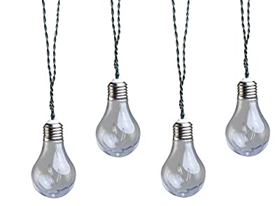 Moonrays 91137 Solar Powered LED Vintage Bulb String Lights, Clear