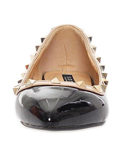 Ballerinas Damen Schuhe Glanz Sommerschuhe Nieten 2 Farben Gr. 36 bis 41 Schwarz