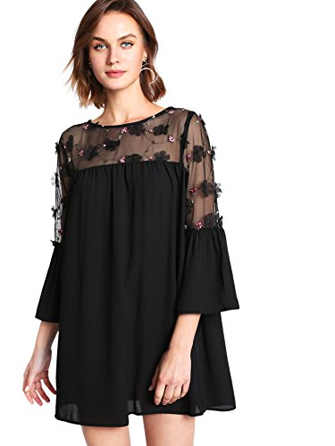 MAKEMECHIC Women#039s Plus Loose Bell Sleeve Floral Embroidered Mesh Summer Tunic Dress
