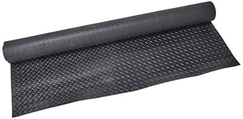 Rubber-Cal Diamond Plate Rubber Flooring Rolls, 1/8-Inch x 4 x 4-Feet, Black ()