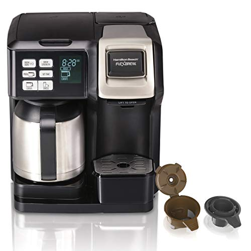 - Hamilton Beach FlexBrew Thermal Coffee Maker, Single Serve & Full 10 Cup Pot, Compatible for Pods or Grounds, Programmable, Black and Stainless (49966),