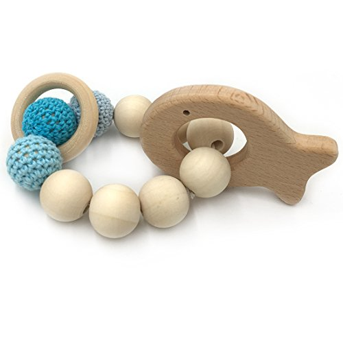 Amyster Crochet Bead Teething Ring Set Untreated Beech Teether with Organic Wood Fish Toy Wood Bracelet Baby Mom Kids Wooden Teether Bangle