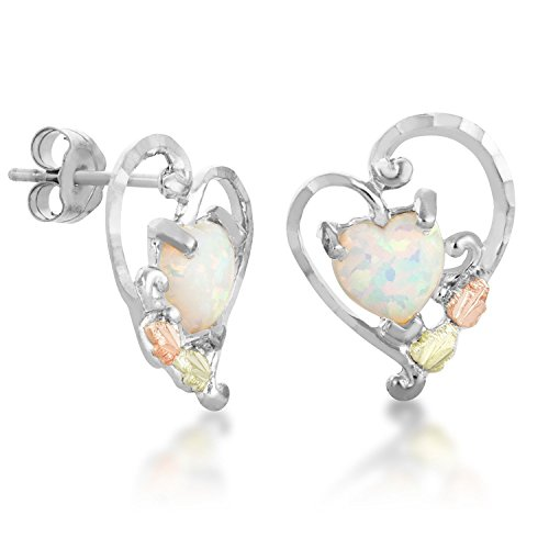 Black Hills Gold Heart Earrings in Sterling Silver with 7X7 MM Created Opal