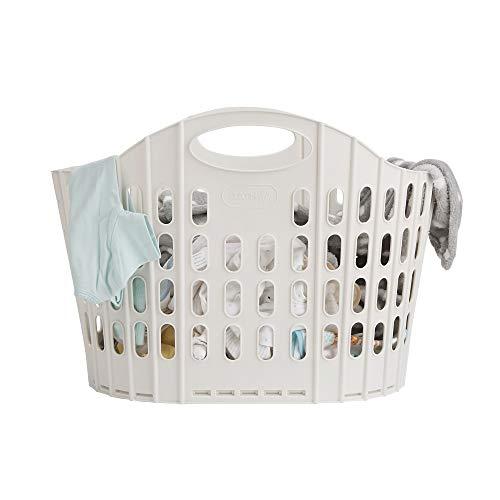 Mind Reader LFOLDBASK-IVO 38 Liter Folding, Collapsible Laundry, Foldable Storage Basket, Bathroom, Bedroom, Home, Ivory
