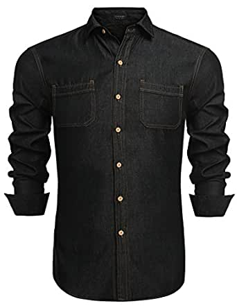 Coofandy Men's Fashion Dress Shirt Long Sleeve Button Down Casual Shirts,Black,Small