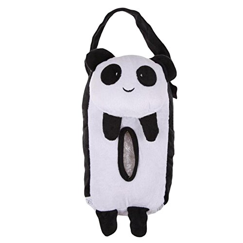 Xiaolanwelc@ 4 Colors Cute Animal Car Tissue Holder Back Hanging Tissue Box Covers Napkin Paper Towel Box Holder Case Paper Towel Holder (Panda)