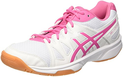 Asics Gel-Upcourt, Chaussures de Volleyball Femme Multicolore (White / Azalea Pink / White)