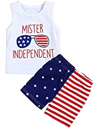 27182ba1e 4th of July Baby Boys Summer Outfits Sleeveless T-Shirt Top with American  Flag Short