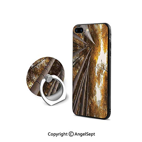 iPhone 7/8 Case with 360°Degree Swivel Ring,Bottom to Top Bamboo Grove Fall Landscape Potential for Improvement Symbol Print,Durable Soft Touching,Yellow Brown (Symbol Mattress Soft)