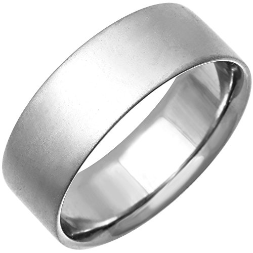 (Platinum Traditional Top Flat Women's Comfort Fit Wedding Band (8mm) Size-5.5c1)