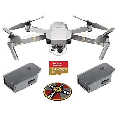 "DJI Mavic Pro Platinum with Remote Controller - Bundle With Spare Battery , 64GB MicroSDXC Card, ExpoImaging 32"" FlatHat Collapsible Pad"