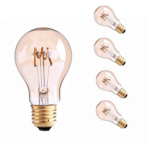 Century 3 Light Pendant - Century Light- 3W Spiral Led Filament Light Bulb A19, 25 Watt Edison Bulb Equivalent, Globe Bulb Amber Glass E26 Base, Super Warm White 2200K, Decorative Lamp, Dimmable (4-Pack)