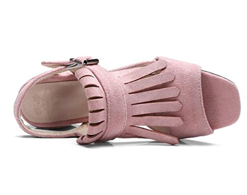 Givré Sandales antidérapantes 33 Chaussures Pink 37 Femme party Shopping Confortables velours glands 41 Romaines 6cm Xie H1qwtR8R