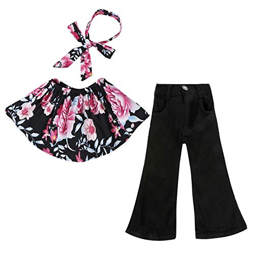 Toddler Baby Girls Off Shoulder Flower Tops+Flare Jeans Pant+Headband Clothes Outfit 3Pcs Clothes Sets