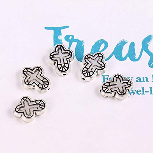Monrocco 100 pcs Ancient Silver Cross Bracelet Beads Perforated Beads Alloyed Beads for DIY Bracelet Necklace Jewelry Making