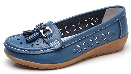 Labato Womens Leather Casual Loafers Slip-ONS Driving Flats Shoes Light Blue-1