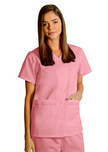 Adar Uniforms Discounted Comfy Snap Front V-Neck Short Sleeve Double Pocket Scrub Top - 604 - Dusty Rose - S