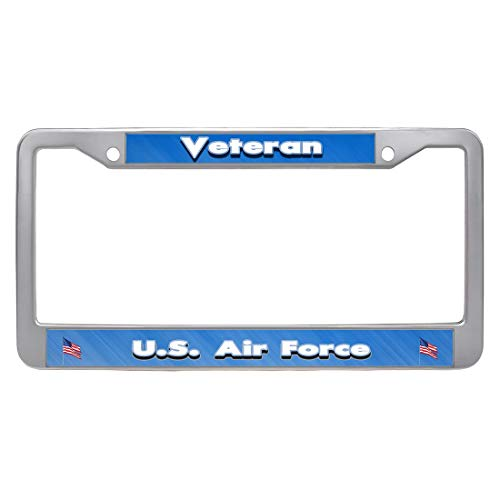 Nuoyizo U.S. Air Force Veteran License Plate Frame American Flag License Plate Cover Personalized Auto Tag Holder Patriots Car Tag Frame Novelty Car Tag Holder