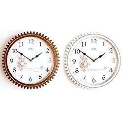 SW Art Non Ticking Silent Analog Wooden Wall Clock, Battery Operated, 12.5 inch, Cogwheel, White and Brown, Set of 2