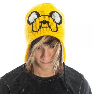 Adventure Time Jake & Finn Reversible Laplander Winter Beanie Hat (White/Yellow)