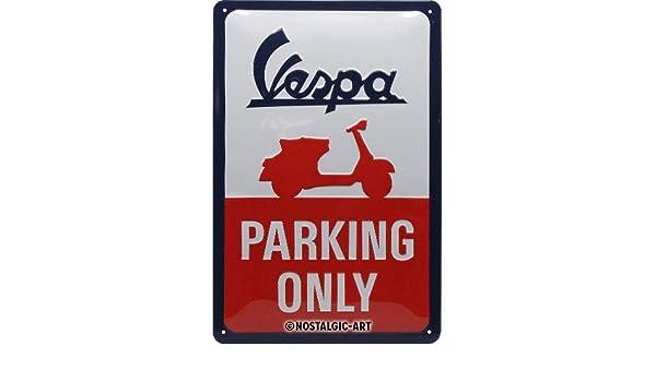 Amazon.com: Nostalgic-Art Vespa Parking Only Tin Sign ...
